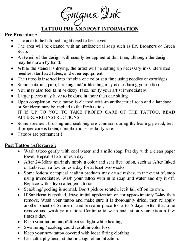 Forms Required For Tattooing Or Piercing Minors And Aftercare