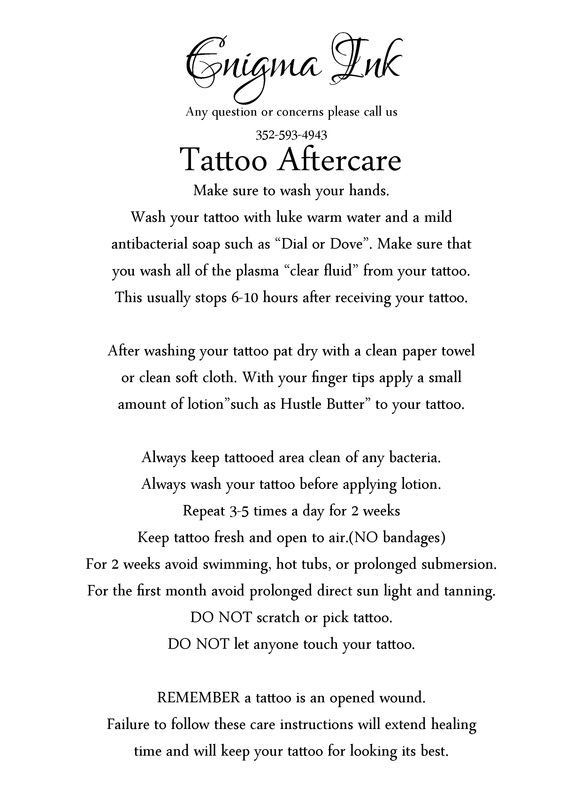 Tattoo aftercare leaflet for Skinlock tattoo aftercare uk